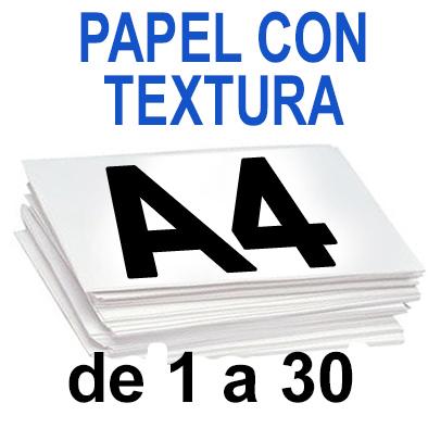 Papel Especial CON TEXTURA  A4 de 1 a 30 copias