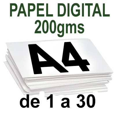 Papel Especial DIGITAL 200grm  A4  de 1 a 30 copias