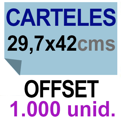 1,000 Cartel A3- 29,7x42 - Impresión Offset 1 cara- Papel offset o couché