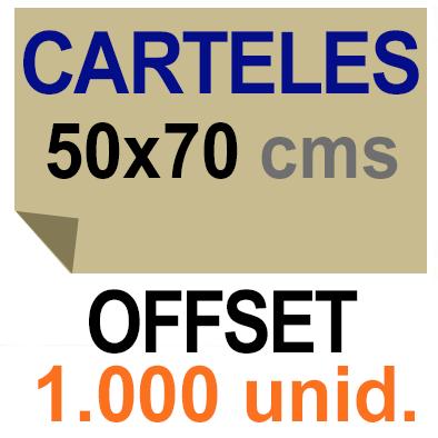 1,000 Cartel 50x70- Impresión Offset 1 cara- Papel offset o couché