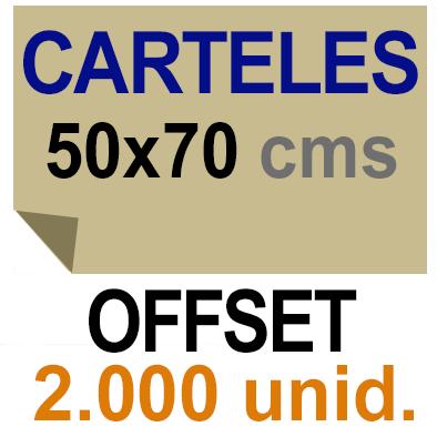 2,000 Cartel 50x70- Impresión Offset 1 cara- Papel offset o couché