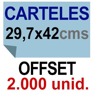 2,000 Cartel A3- 29,7x42 - Impresión Offset 1 cara- Papel offset o couché
