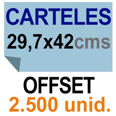 2,500 Cartel A3- 29,7x42 - Impresión Offset 1 cara- Papel offset o couché