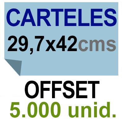 5,000 Cartel A3- 29,7x42 - Impresión Offset 1 cara- Papel offset o couché