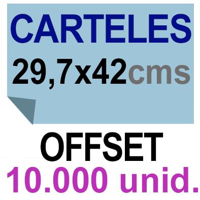 10,000 Cartel A3- 29,7x42 - Impresión Offset 1 cara- Papel offset o couché