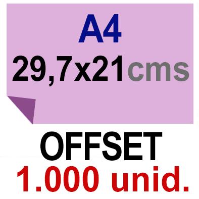 1,000 -A4- 29,7x21 - Sin plegar - Impresión Offset Color en 135 grms - 1 ó 2 caras