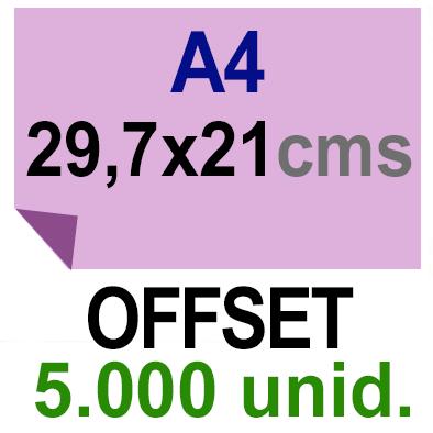 5,000 -A4- 29,7x21 - Sin plegar - Impresión Offset Color en 135 grms - 1 ó 2 caras