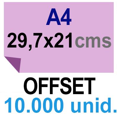 10,000 -A4- 29,7x21 - Sin plegar - Impresión Offset Color en 135 grms - 1 ó 2 caras