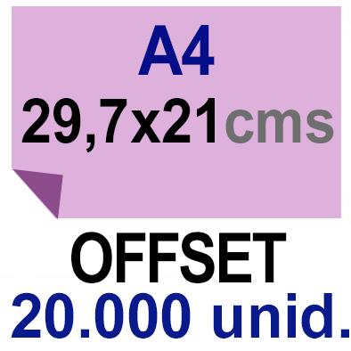 20,000-A4- 29,7x21 - Sin plegar - Impresión Offset Color en 135 grms - 1 ó 2 caras