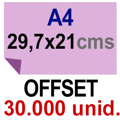 30,000 -A4- 29,7x21 - Sin plegar - Impresión Offset Color en 135 grms - 1 ó 2 caras
