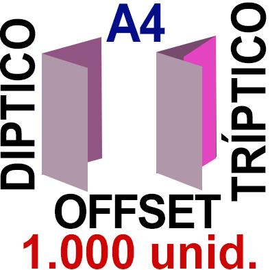 1,000 -A4- 29,7x21 - Plegado Díptico o Tríptico - Impresión Offset Color en 135 grms - 1 ó 2 caras