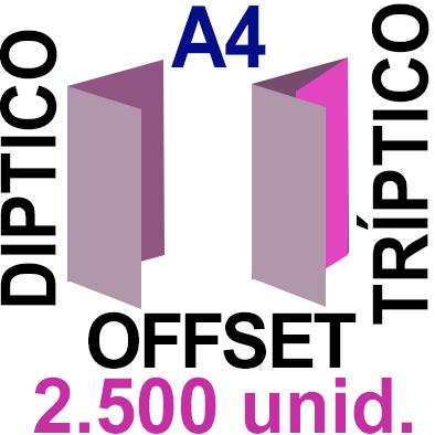 2,500 -A4- 29,7x21 - Plegado Díptico o Tríptico - Impresión Offset Color en 135 grms - 1 ó 2 caras