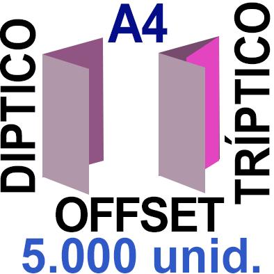 5,000 -A4- 29,7x21 - Plegado Díptico o Tríptico - Impresión Offset Color en 135 grms - 1 ó 2 caras