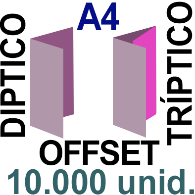 10,000 -A4- 29,7x21 - Plegado Díptico o Tríptico - Impresión Offset Color en 135 grms - 1 ó 2 caras