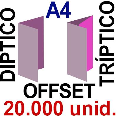 20,000 -A4- 29,7x21 - Plegado Díptico o Tríptico - Impresión Offset Color en 135 grms - 1 ó 2 caras