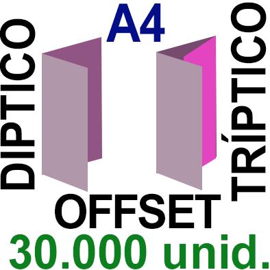 30,000 -A4- 29,7x21 - Plegado Díptico o Tríptico - Impresión Offset Color en 135 grms - 1 ó 2 caras