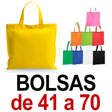 Bolsas. De 41 a 70. Sublimado ó 1 color de vinilo