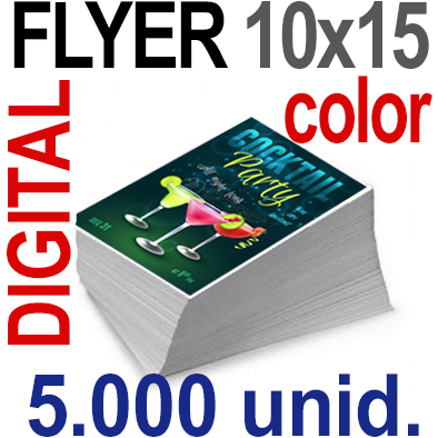 5,000 Flyer 10x15 - 1250 Copias  DIGITAL Color en 90 grms -1 cara + Cortes