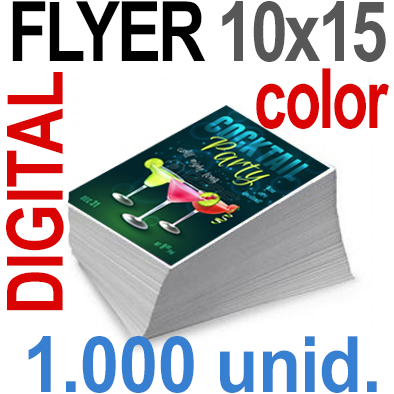 1,000 Flyer 10x15 - 250 Copias DIGITAL Color en 90 grms -1 cara + Cortes