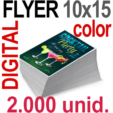 2,000 Flyer 10x15 - 500 Copias DIGITAL Color en 90 grms -1 cara + Cortes