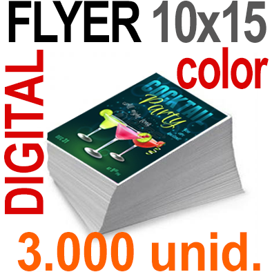 3,000  Flyer 10x15 - 25 Copias DIGITAL Color en 90 grms -1 cara + Cortes