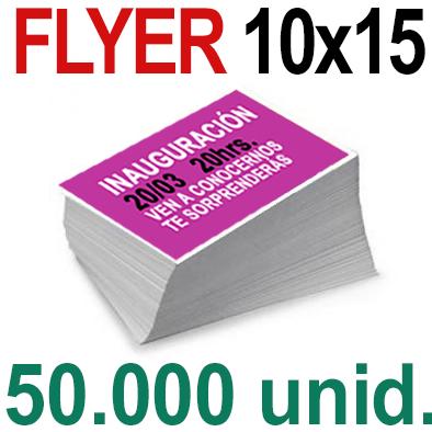 50,000  Flyer  10x15 -A6- Impresión Offset Color en 135 grms - 1 ó 2 caras