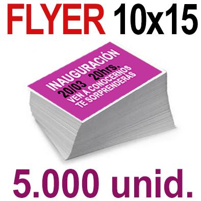 5,000  Flyer  10x15 -A6- Impresión Offset Color en 135 grms - 1 ó 2 caras