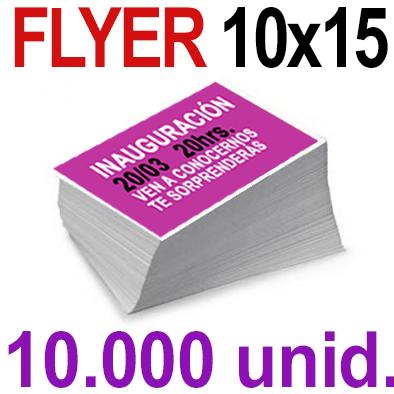 10,000  Flyer  10x15 -A6- Impresión Offset Color en 135 grms - 1 ó 2 caras