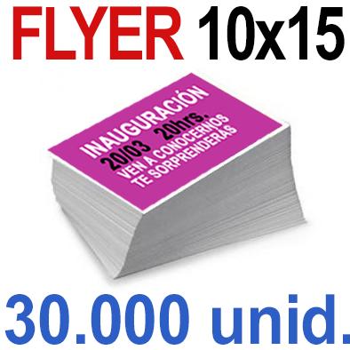 30,000  Flyer  10x15 -A6- Impresión Offset Color en 135 grms - 1 ó 2 caras