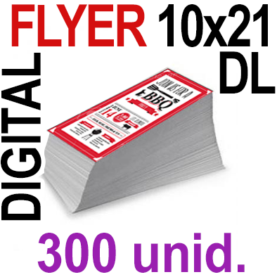 300 Flyer DL 10x21- 75 Copias Digital Color en 90 grms -1 cara + Cortes