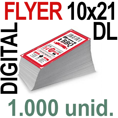 1,000 Flyer DL 10x21- 250 Copias Digital Color en 90 grms -1 cara + Cortes