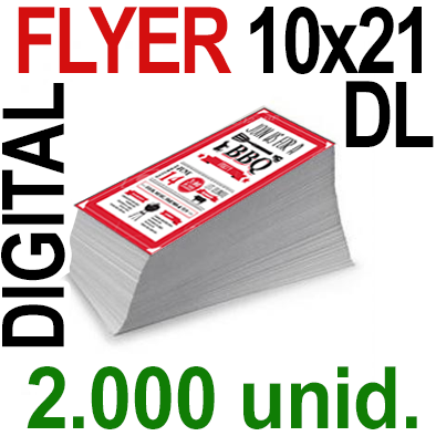2,000 Flyer DL 10x21- 500 Copias Digital Color en 90 grms -1 cara + Cortes
