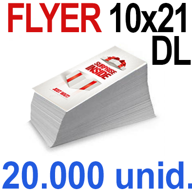 20,000 Flyer  10x21 -DL Impresión Offset Color en 135 grms - 1 ó 2 caras
