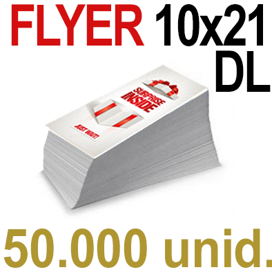 50,000 Flyer  10x21 -DL Impresión Offset Color en 135 grms - 1 ó 2 caras