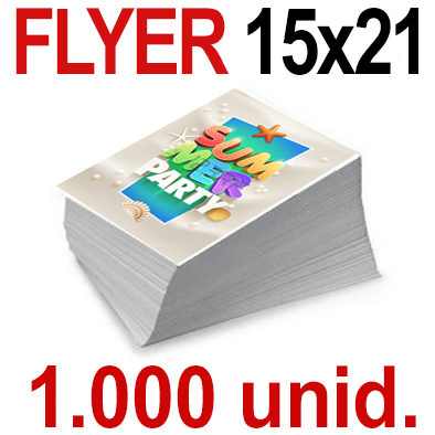 1,000  Flyer  15x21 -A5- Impresión Offset Color en 135 grms - 1 ó 2 caras