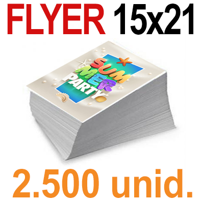 2,500  Flyer  15x21 -A5- Impresión Offset Color en 135 grms - 1 ó 2 caras