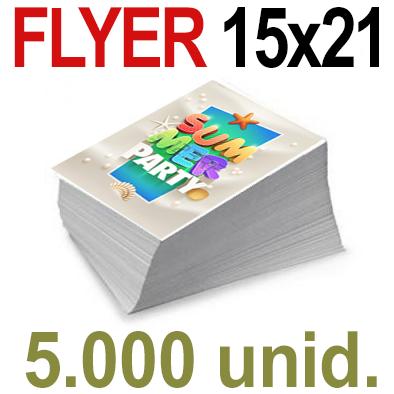 5,000  Flyer  15x21 -A5- Impresión Offset Color en 135 grms - 1 ó 2 caras