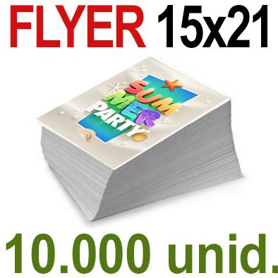 10,000  Flyer  15x21 -A5- Impresión Offset Color en 135 grms- 1 ó 2 caras