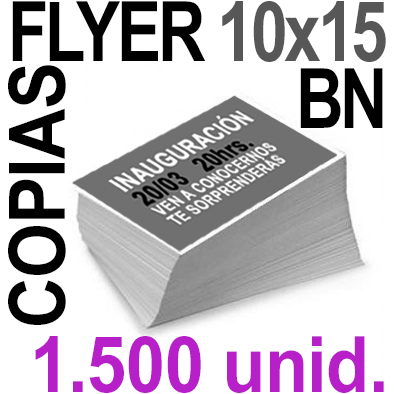 1,500  Flyer 10x15 - 375Copias ByN  en 90 grms -1 cara + Cortes