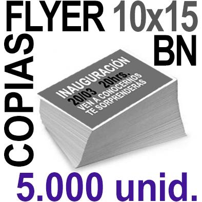 5,000 Flyer 10x15 - 1250 Copias ByN  en 90 grms -1 cara + Cortes