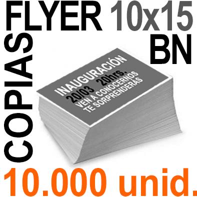 10,000 Flyer 10x15 - 2,500 Copias ByN  en 90 grms -1 cara + Cortes