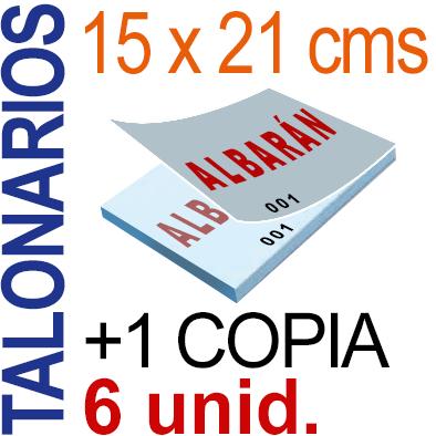 Autocopiativo -  15x21 cms -A5-  600 unidades Original + Copia - agrupadas en 6 Talonarios - Numerados