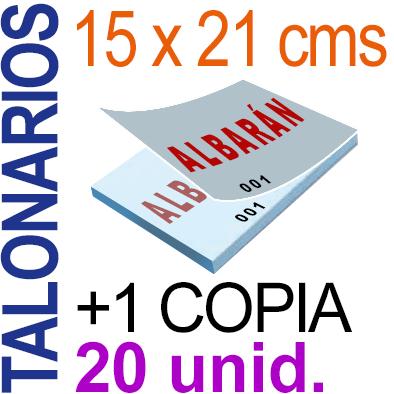 Autocopiativo -  15x21 cms -A5-  2,000 unidades Original + Copia - agrupadas en 20 Talonarios - Numerados
