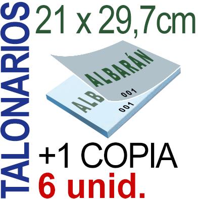 Autocopiativo -  21x29,7 cms -A4-  600 unidades Original + Copia - agrupadas en 6 Talonarios - Numerados