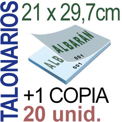 Autocopiativo -  21x29,7 cms -A4-  2,000 unidades Original + Copia - agrupadas en 20 Talonarios - Numerados