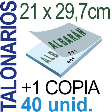 Autocopiativo -  21x29,7 cms -A4-  4,000 unidades Original + Copia - agrupadas en 40 Talonarios - Numerados