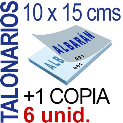 Autocopiativo -  10 x 15 cms - A6- 600 unidades Original + Copia - agrupadas en 6 Talonarios - Numerados