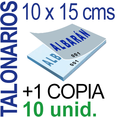 Autocopiativo -  10 x 15 cms - A6 - 1,000 unidades Original + Copia - agrupadas en 10 Talonarios - Numerados
