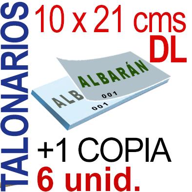 Autocopiativo -  10 x 21 cms -DL-  600 unidades Original + Copia - agrupadas en 6 Talonarios - Numerados