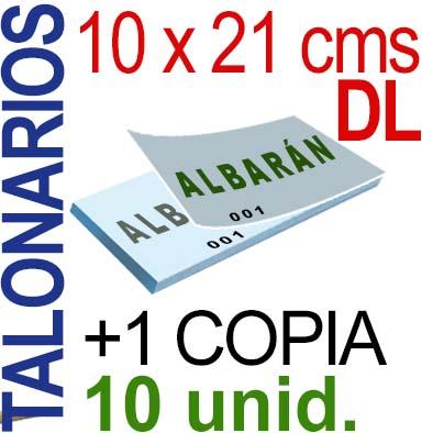 Autocopiativo -  10 x 21 cms -DL-  1,000 unidades Original + Copia - agrupadas en 10 Talonarios - Numerados